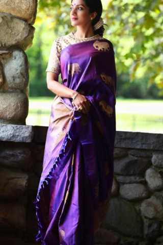 Purple Color Chennai Style Silk Saree  - CS52