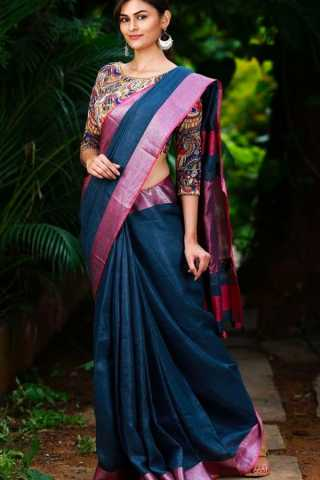 Blue Color Linen Party Wear Silk Saree - CS54