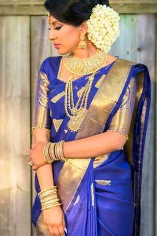 Blue Color Golden Border Chennai Silk Festive Saree  - CS63