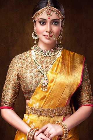 Yellow Color Golden Blouse Chennai Silk Festive Saree  - CS72
