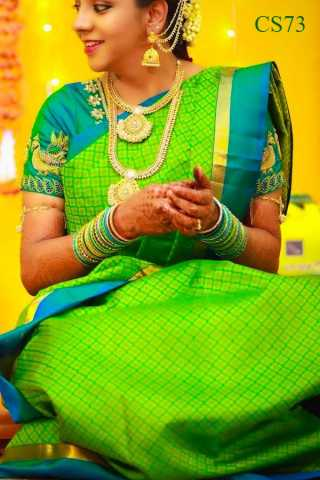 Green Color Chennai Silk Festive Saree  - CS73