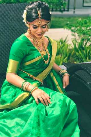 Green Color Chennai Silk Festive Saree  - CS75