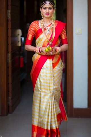 White - Red Chennai Silk Festive Saree  - CS78