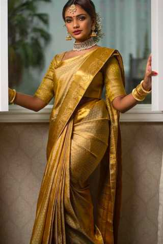 Yellow Golden Color Chennai Silk Festive Saree  - CS80