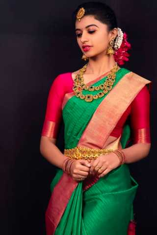 Green Color Red Blouse Chennai Silk Saree  - CS83