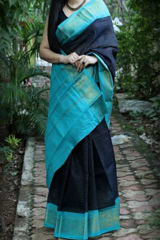 Desirable Blue Colored Silk Fabric Light Blue Border Beautiful Saree With Blouse Piece -CSS03