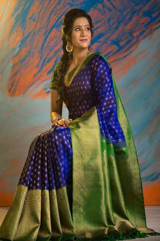 Innovative Dark Blue-Green Colored Silk Fabric Designer Saree With Blouse Piece -CSS05