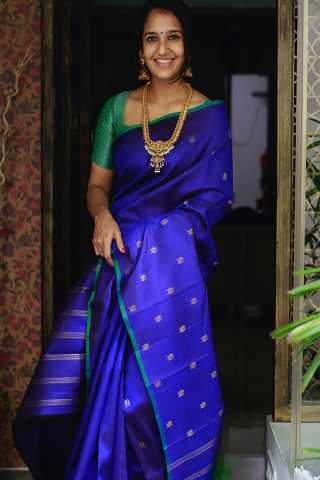 Preety Blue Colored Silk Fabric Elegant Pallu Saree With Blouse Piece -CSS10
