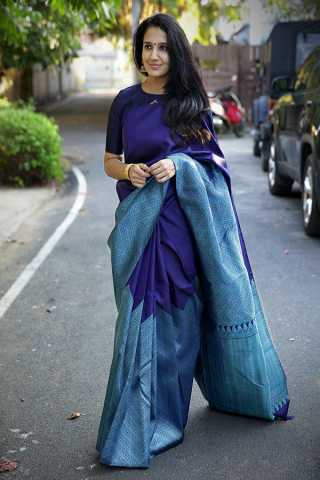Lovely Blue Colored Solid Silk Fabric Designer Saree With Blouse Piece -CSS11