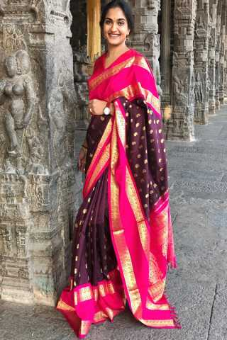 Charming Magenta-Pink Colored Partywear Silk Fabric Saree With Blouse Piece -CSS31