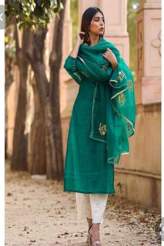 Green Color Slub Cotton Top With Micro Inner And Pure Cotton Bottom Full Set