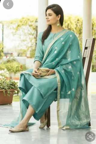 Aqua Blue Dev SenaSilk Top With Micro Cotton Bottom With Nazmeen Embroidery With Butti Dupatta Full Set