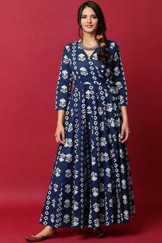 Japan Crepe With Digital Print Floor Length Blue Colored Long Gown