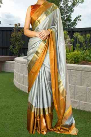 Dynammic Grey Color Soft Silk Saree - cnd578