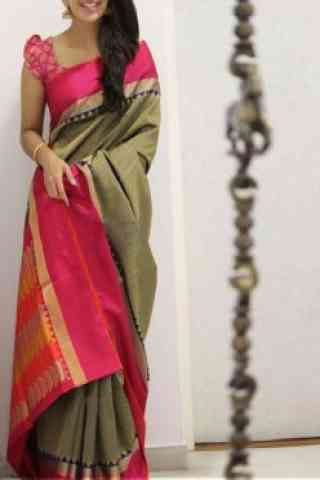 Sizzling Multi Color Soft Silk Saree - Cnd1109