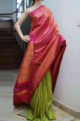 classic Pink n Green Color Soft Silk Designer Sarees - cnd706