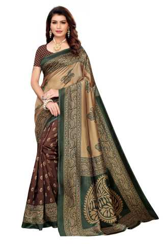 Coffee n Green Colored Silk Saree With Unstiched Blouse
