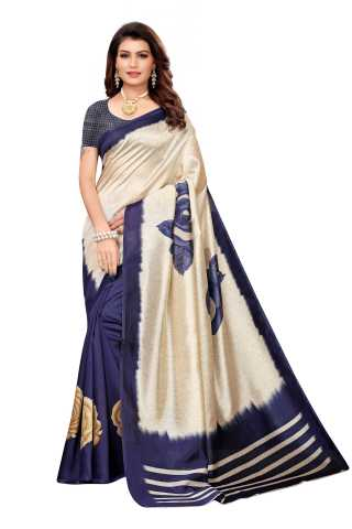 Navy Blue Colored Silk Saree With Unstiched Blouse