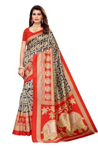 Navy Blue N Red Colored Silk Saree With Unstiched Blouse