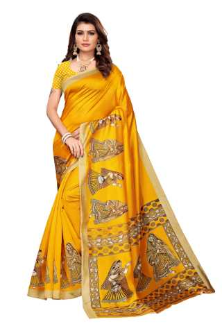 Yellow Colored Silk Saree With Unstiched Blouse