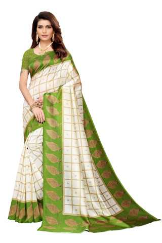 Off White Colored Peacock Pattern Border Silk Saree