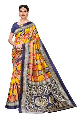 Multi Colored Peacock Pattern Silk Saree With Unstiched Blouse