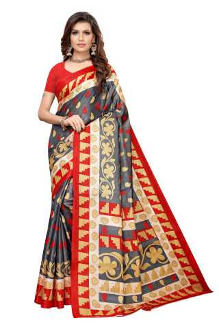 Grey Colored  Printed Silk Saree With Unstiched Blouse