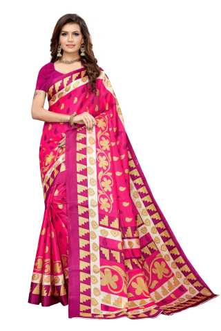 Pink Colored  Printed Silk Saree With Unstiched Blouse