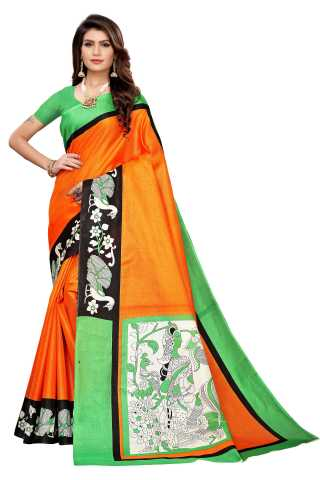 Orange Colored  Printed Silk Saree With Unstiched Blouse