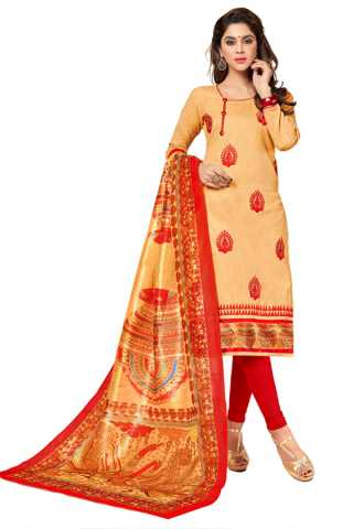 Outstanding Beige-Red Colored Slub Cotton Dress Material With Digital Print Dupatta For Summer Season