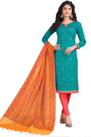 Casual Blue Colored Neck Pattern PC Cotton Dress Material With Pure Banaras Dupatta For Summer Season