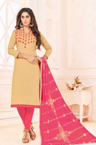 Beige-Pink Slub Cotton Choli Work Dress Material For Summer Season