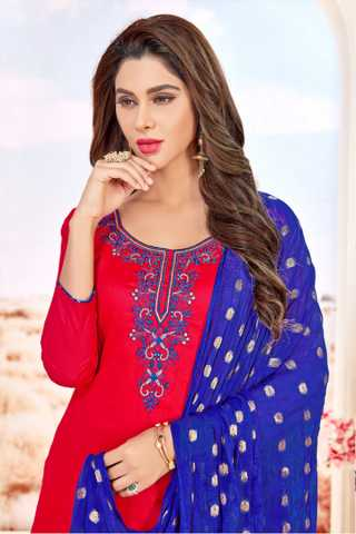Glace Cotton Red-Blue Colored Dress Material With Pure Jacquard Dupatta For Summer Season