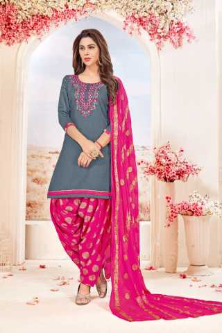 Glace Cotton Grey-Pink Colored Dress Material With Pure Jacquard Dupatta For Summer Season