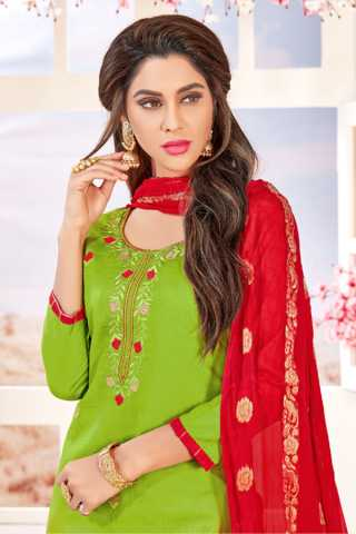 Glace Cotton Green-Red Colored Dress Material With Pure Jacquard Dupatta For Summer Season