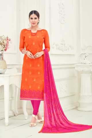 Chanderi Fabric Orange Colored Dress Material With Nazmeen Dupatta For Summer Season