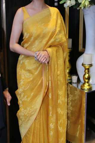 Yellow Colored New Designer Silk Saree With Blouse Piece - DSS101