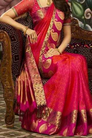 Pink Colored New Designer Silk Saree With Blouse Piece - DSS110