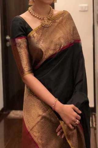 Black Colored New Designer Silk Saree With Blouse Piece - DSS112