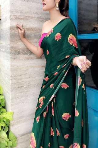 Green Colored New Designer Silk Saree With Blouse Piece - DSS123