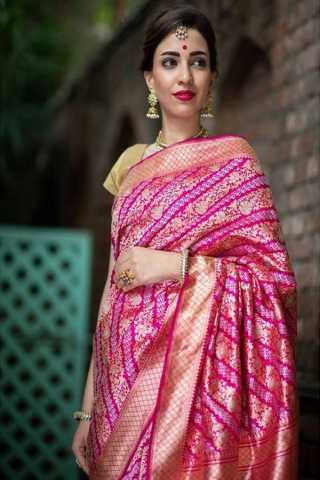 Pink Colored New Designer Silk Saree With Blouse Piece - DSS124
