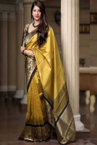 Yellow Colored New Designer Silk Saree With Blouse Piece - DSS126