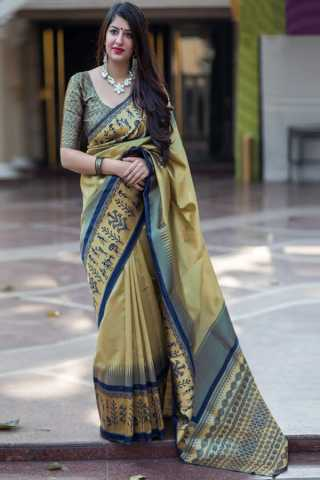 Beige Colored New Designer Silk Saree With Blouse Piece - DSS127