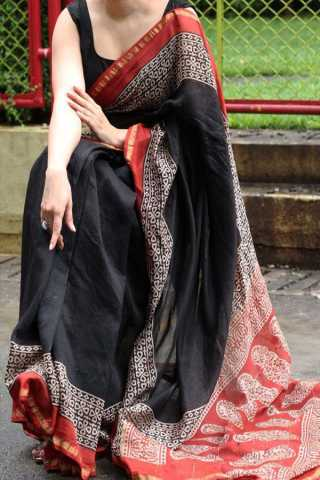 Black Colored New Designer Silk Saree With Blouse Piece - DSS130