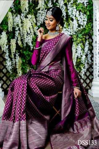 """Magenta Colored New Designer Silk Saree With Blouse Piece - DSS133 30"""""""