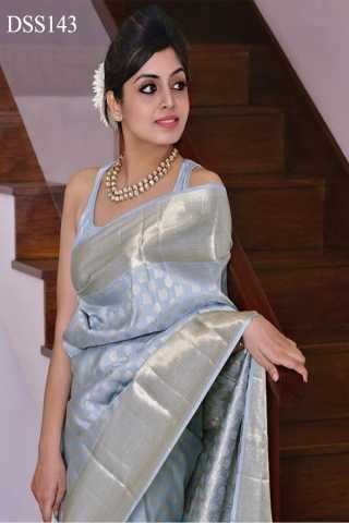 Light Sky Blue Colored Traditional Silk Saree With Blouse For Women - DSS143