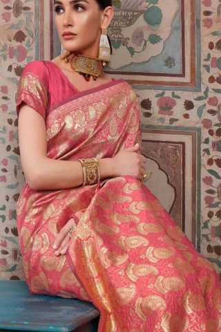 Pink Colored Traditional Silk Saree With Blouse For Women - DSS153