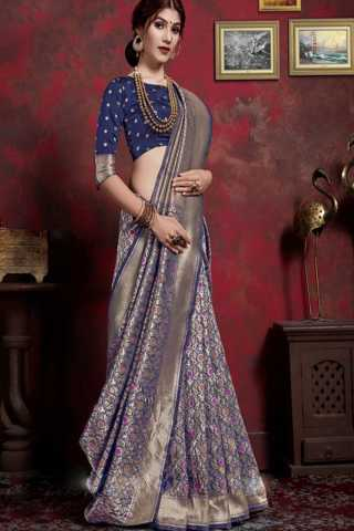 Blue Colored Traditional Silk Saree With Blouse For Women - DSS154