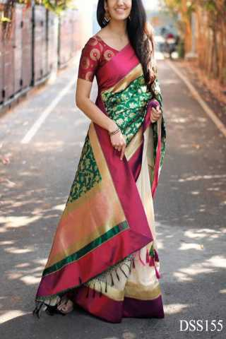 Multicolored Traditional Silk Saree With Blouse For Women - DSS155