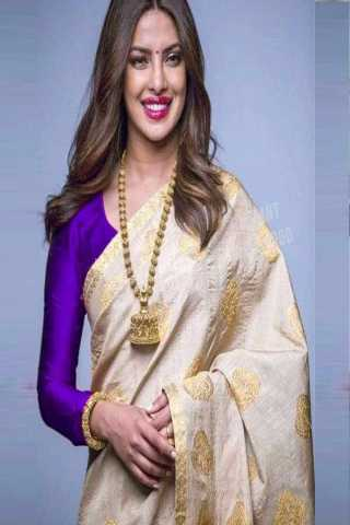 Beige Colored South Silk Saree With Banglory Silk Purple Blouse - DVD1005C
